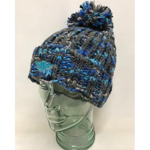 Flying A Design Bobble Hat, Grey/Royal/Navy