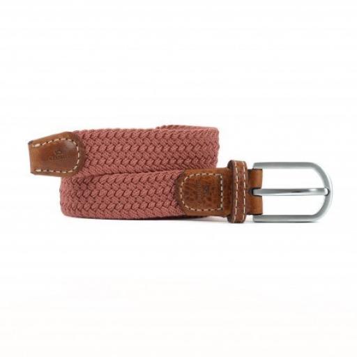 Womens Woven Elasticated Belt, Rosewood