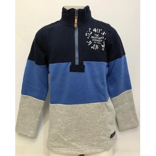 Joules Co-ordinates Design 1/4 Zip Sweatshirt, Blue Multi