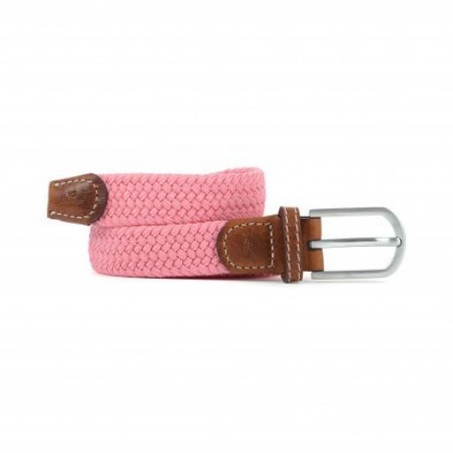Womens Woven Elasticated Belt, Rose Pink