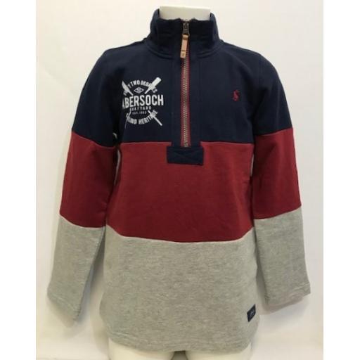 Joules Sailing Heritage Design 1/4 Zip Sweatshirt, Grey/Red/Navy