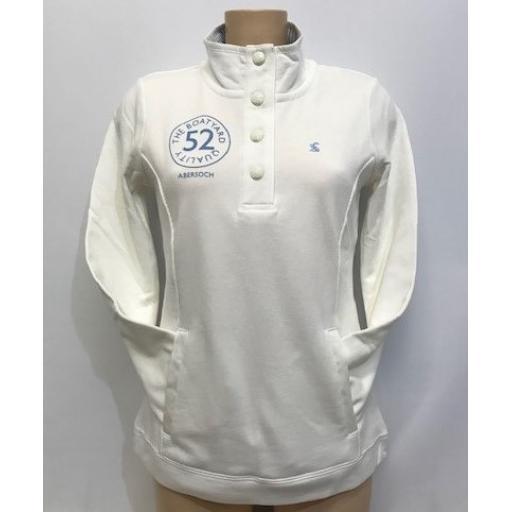 Joules Boatyard Quality Design Button Sweatshirt, Cream