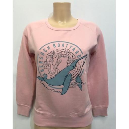 Save Our Oceans Design Sweatshirt, Pink