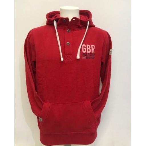 Lazy Jacks GBR Design Button Neck Hood, Red