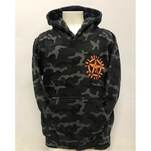 Kids Camo Hoodie, Orange Flying A Design