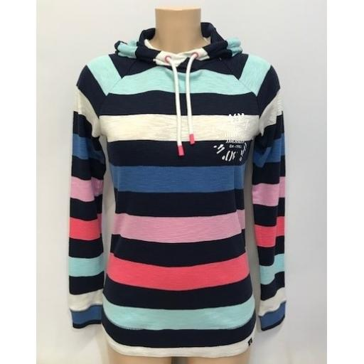Joules Co-Ord Design Lightweight Hoodie, Multi Stripe