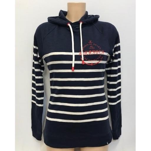 Joules Anchor Design Lightweight Hoodie, Navy Stripe