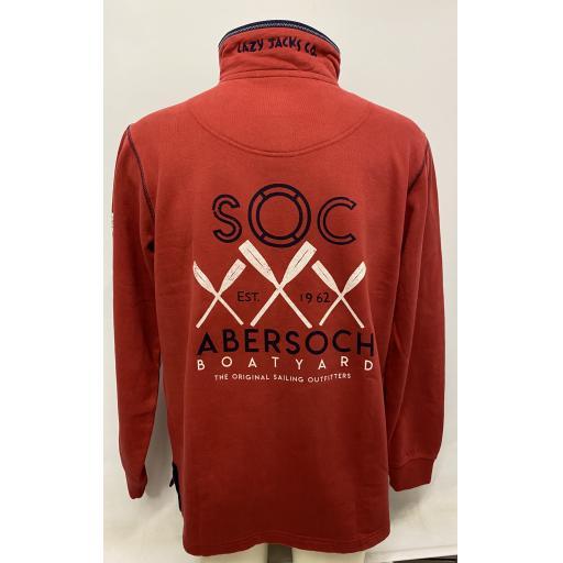Lazy Jacks Crossed Oars Design 1/4 Zip Sweatshirt, Red