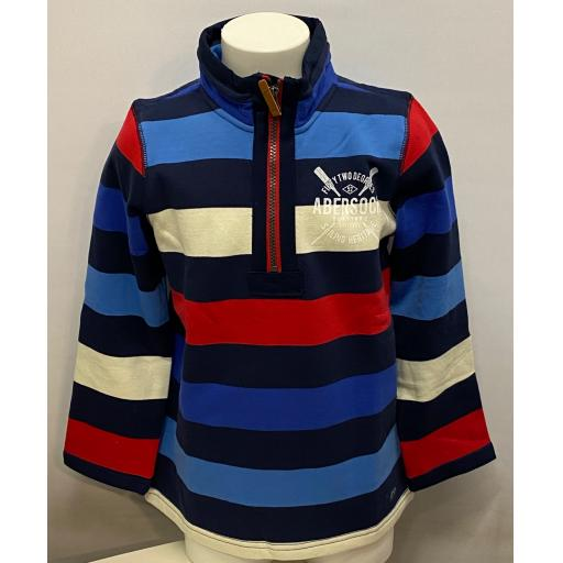 Kids Sailing Heritage Design Hoodie 1/4 Zip Sweatshirt, Stripy