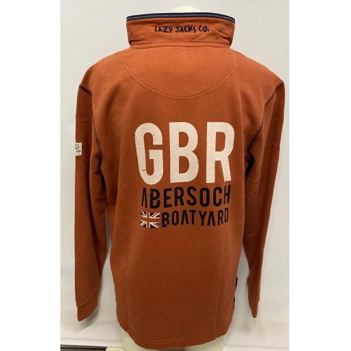 Lazy Jacks GBR & Flag Design 1/4 Zip Sweatshirt, Tangerine